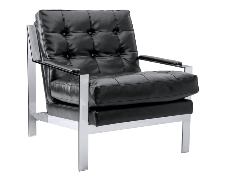 ALBINUS BLACK LEATHER  ARMCHAIR STAINLESS