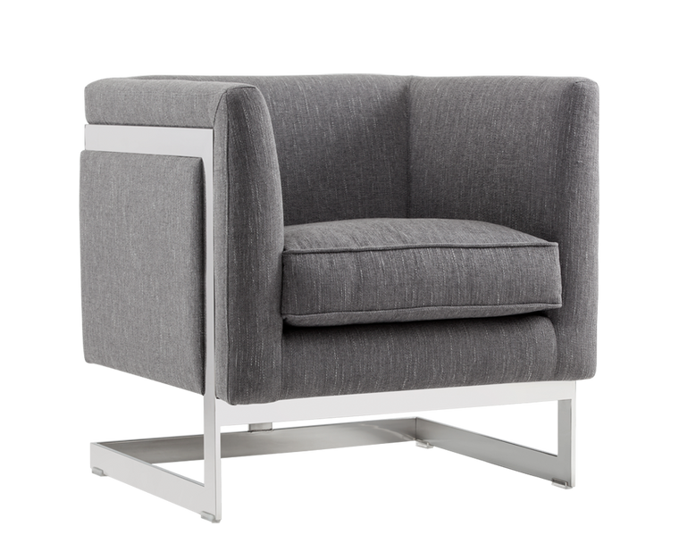 AIKEN ARMCHAIR HANNIGAN PEWTER FABRIC STAINLESS