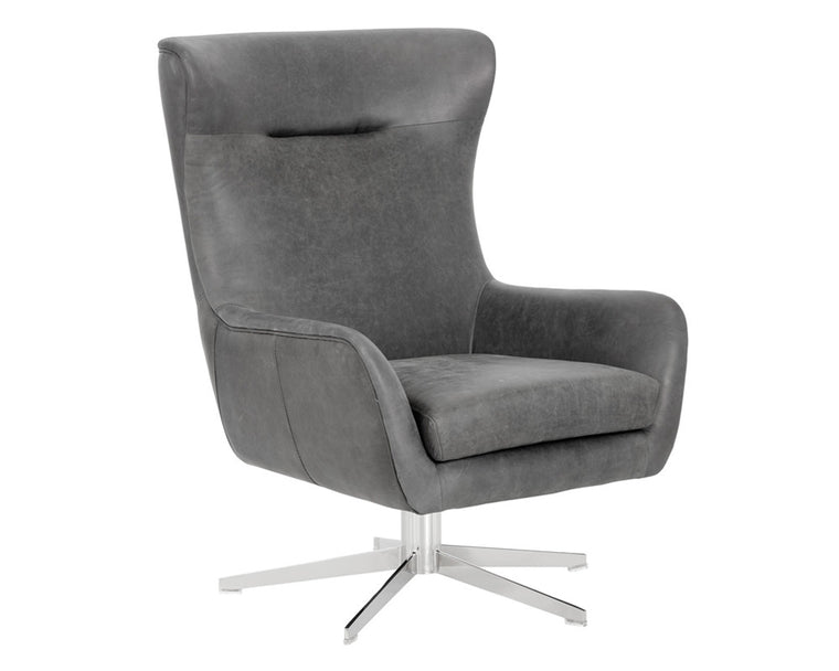 ADKEN SWIVEL CHAIR VINTAGE BLACK LEATHER