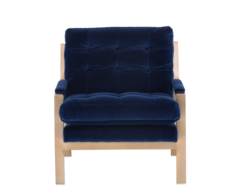 ALBINUS ARMCHAIR - ANTIQUE BRASS - GIOTTO NAVY FABRIC