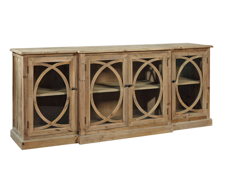 Worton Entertainment Glass Front Cabinet