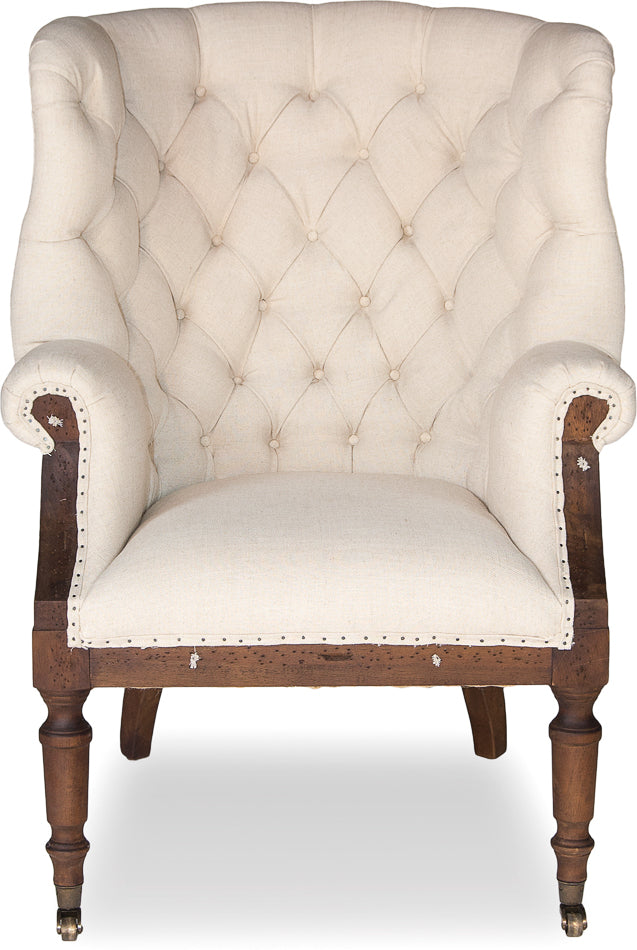 Virgile Chair Wood, Linen, Burlap Tacks  Ivory Traditional