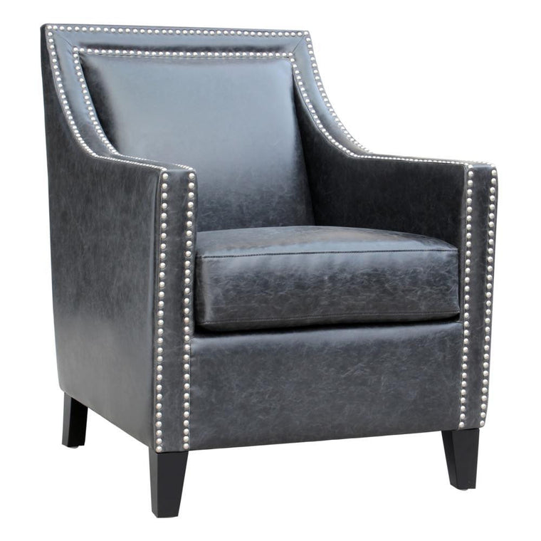 Garrett Club Chair Black Leather