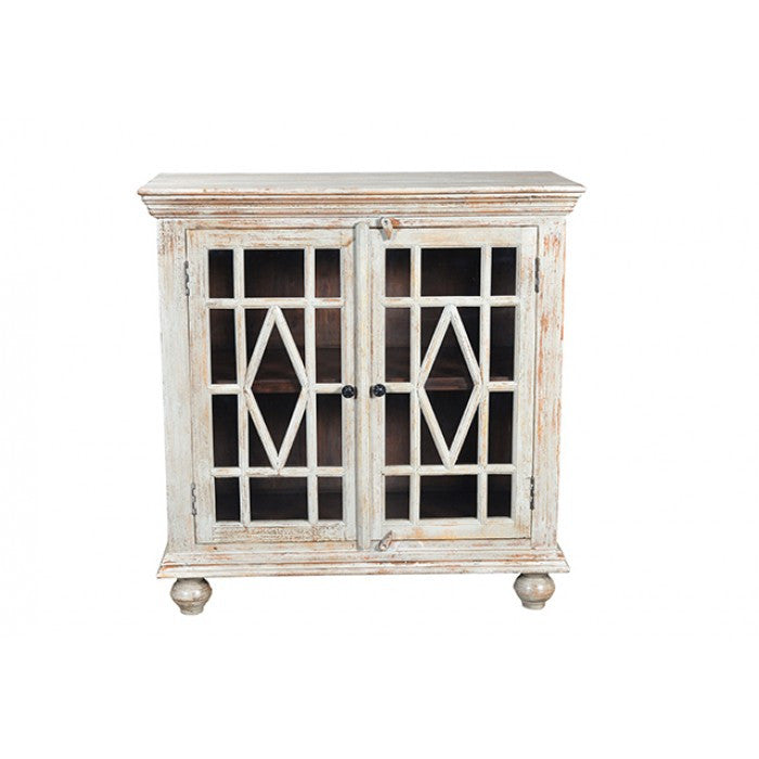 Wicent 2 Glass Door Cabinet In White Antique Finish