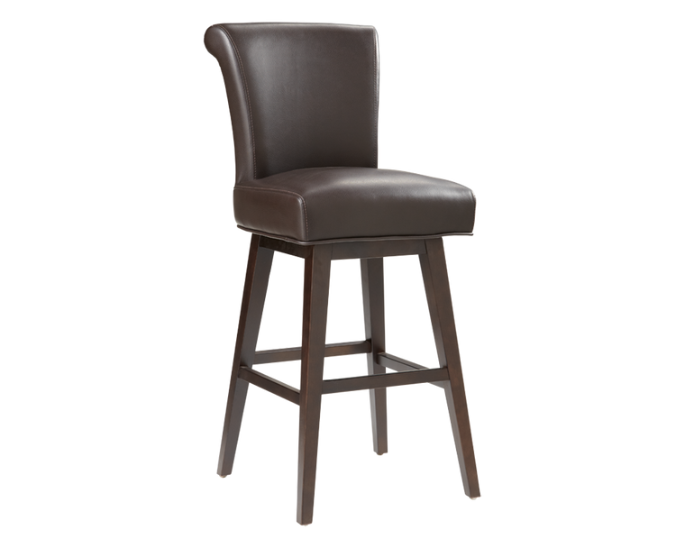 BELLAMY SWIVEL BARSTOOL BROWN LEATHER  SET OF 2