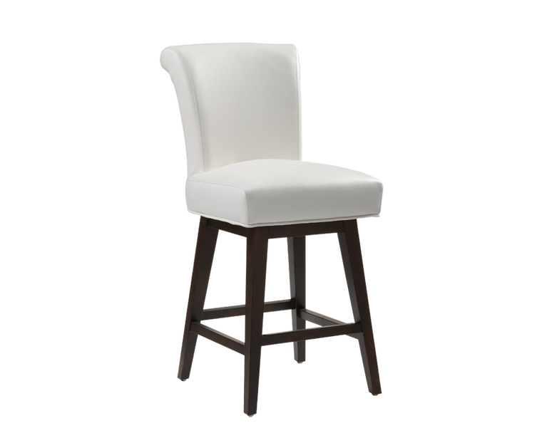 BELLAMY SWIVEL BARSTOOL IVORY LEATHER OF 2
