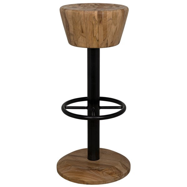 Iann Bar Stool, Teak and Metal