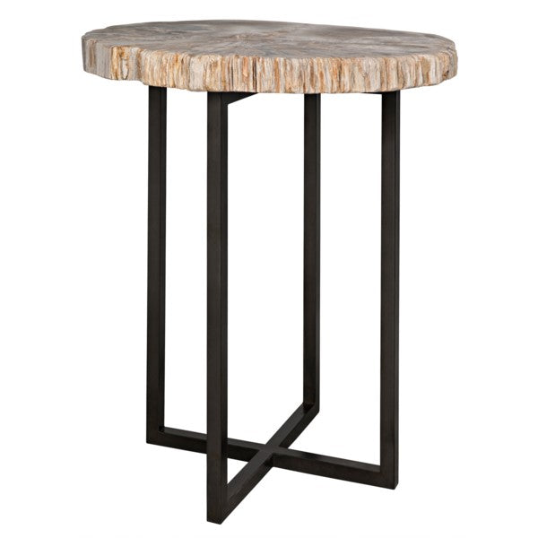 Valiant Cross Base Petrified Top Side Table
