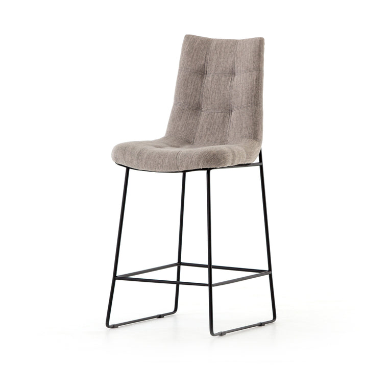 CAMILA BAR STOOL, SAVILE FLANNEL,  MIDNIGHT IRON