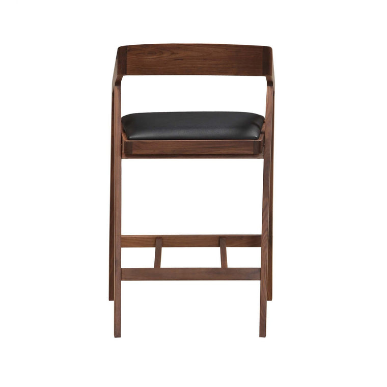 Braulio Counterstool Black leather walnut