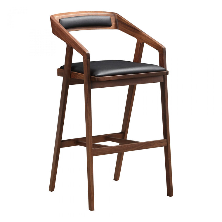 Braulio Barstool Black leather walnut