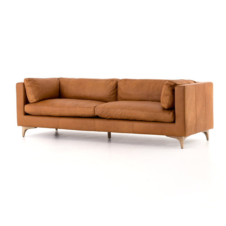 BECKFORT SOFA, NAPHINA CAMEL, WEATHERED OAK