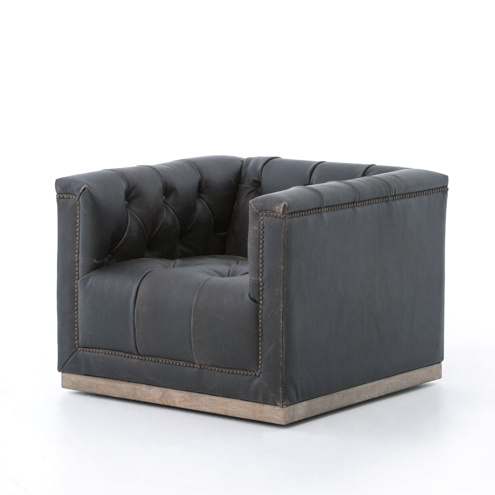 MAXWELL SWIVEL CHAIR, DESTROYED BLACK
