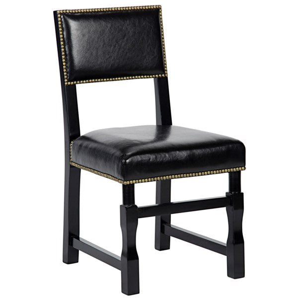 Patterson Side Chair w/Leather, Distressed Black