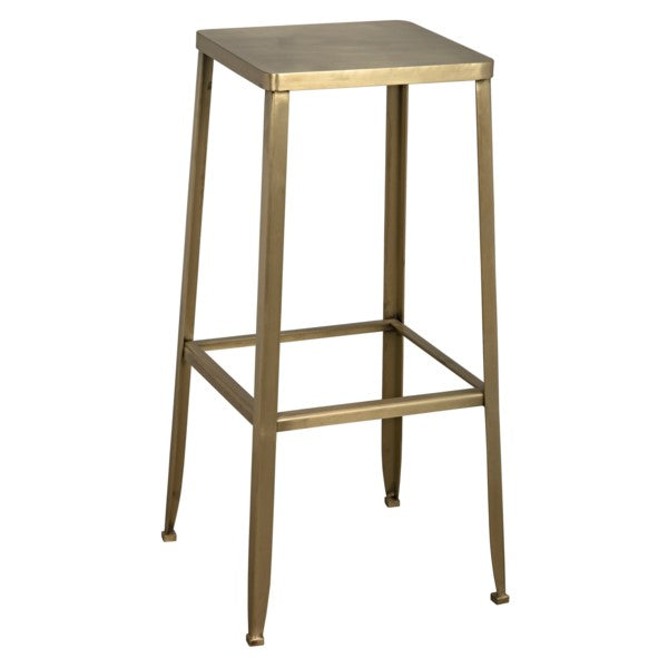 Lavan Industrial Bar Stool, Metal w/Brass Finish