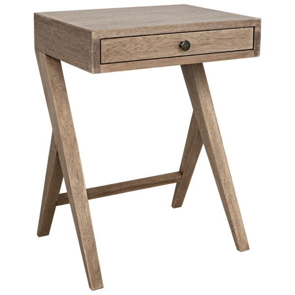 Virgile Side Table, Washed Walnut