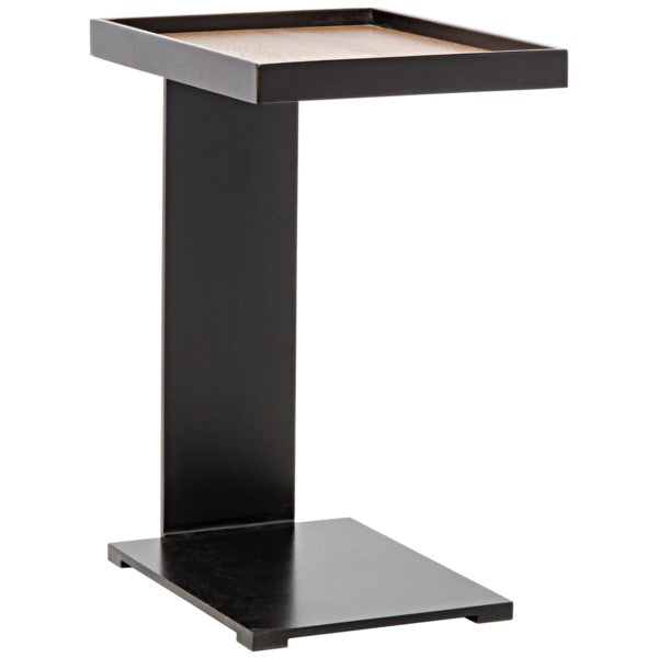 Veasna Side Table, Walnut and Metal