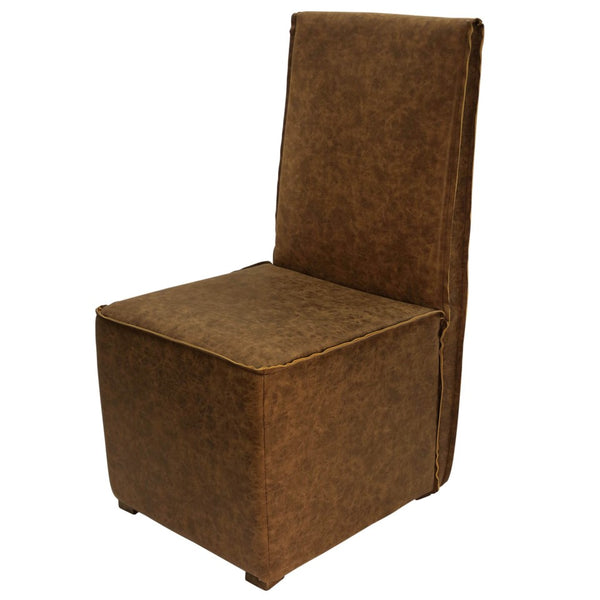 DEAVON ARMLESS CHAIR | Distressed Leather- Chocolate