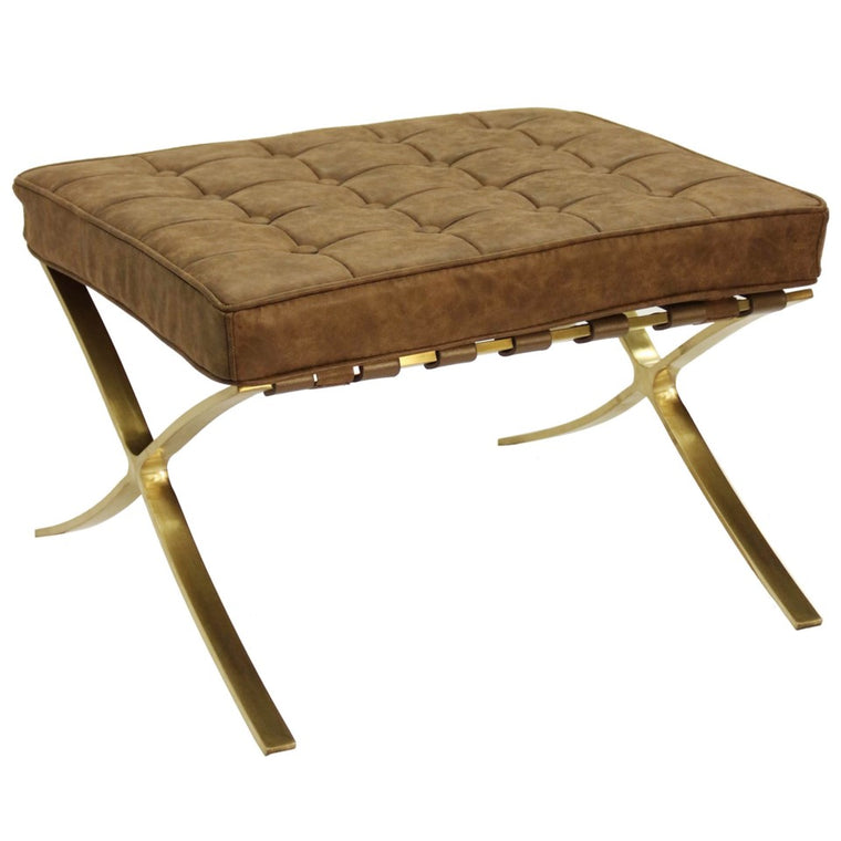 JOLINA OTTOMAN | Distressed Leather- Chocolate with Brass Finish on Metal Frame