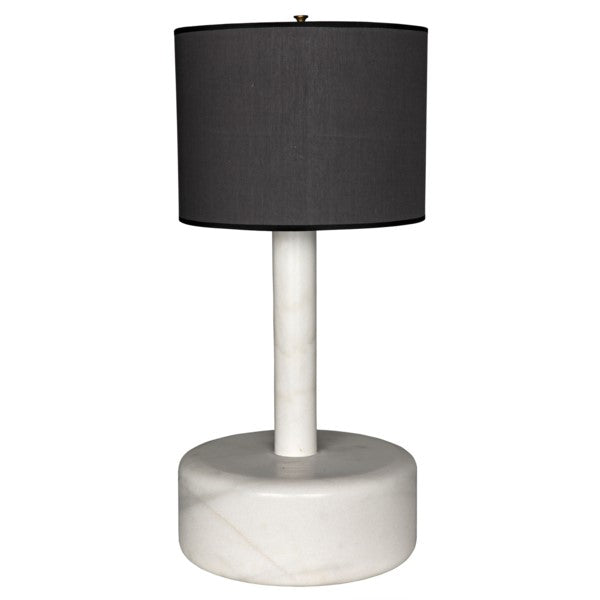 Kinsley Marble Cylinder Lamp w/ Black Shade