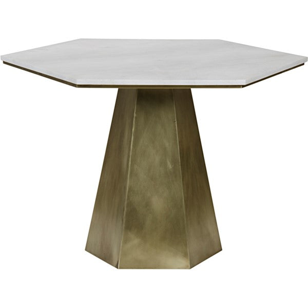 Evane Table, Metal and Quartz
