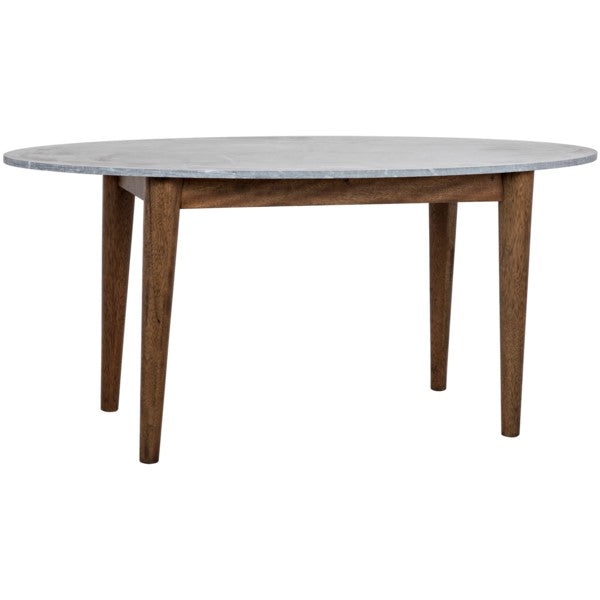 Graham  Oval Dining Table, Dark Walnut w/Stone Top