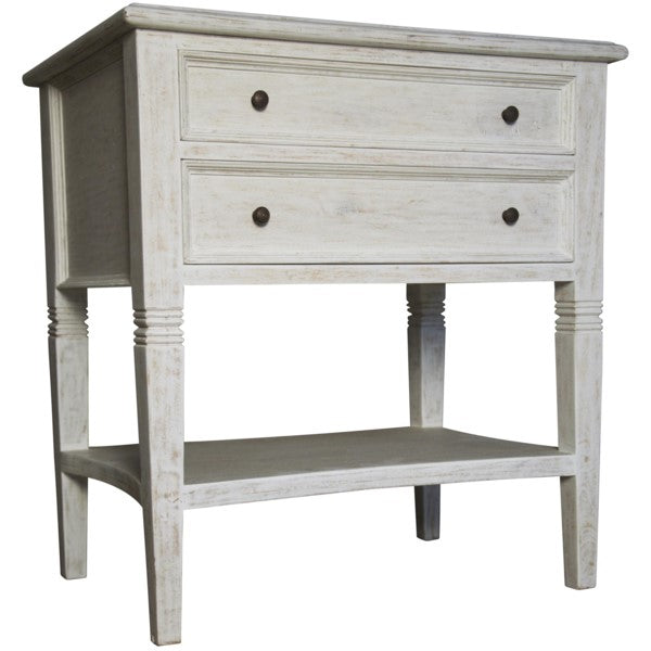 Donovan 2-Drawer Side Table, White Wash