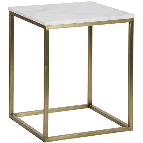 Teena Side Table, Large, Antique Brass, Metal and Quartz