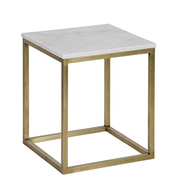 Teena  Side Table, Small, Antique Brass, Metal and Quartz