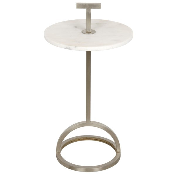 Tobey Side Table, Antique Silver, Metal and Stone