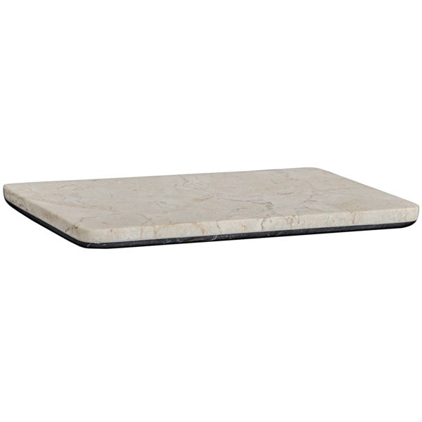 Takoda White Marble Tray w/Black Marble Base