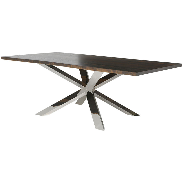 Alban Dining Table Stainless Legs Seared Oak