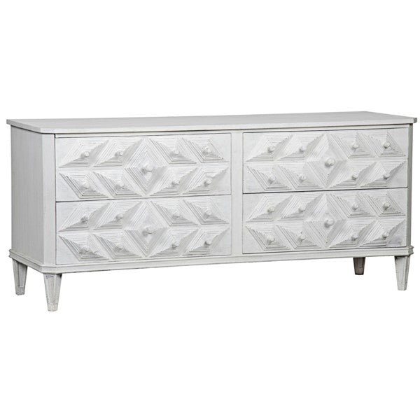 Exter 4 Drawer Dresser, White Weathered