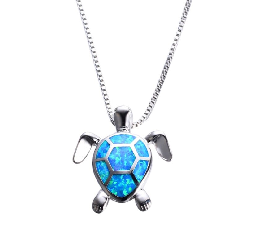 50% OFF Sterling Silver Blue Opal Sea Turtle Necklace