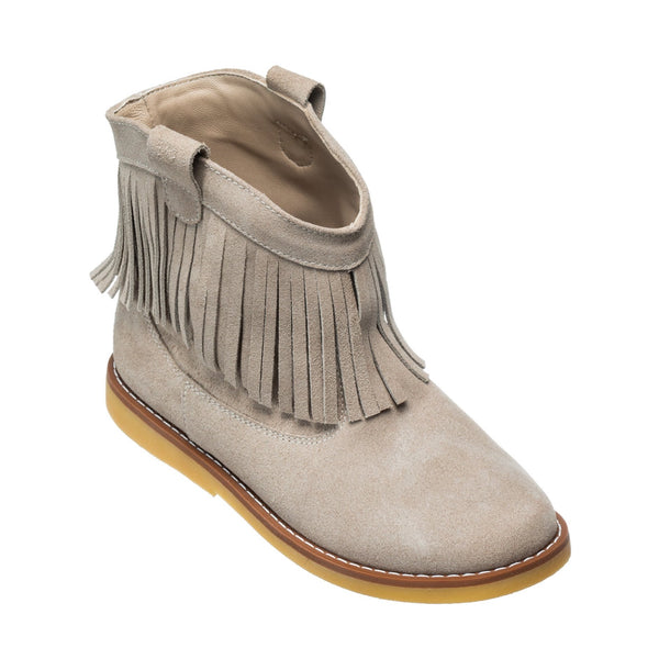 Bootie w/Fringes Suede Sand