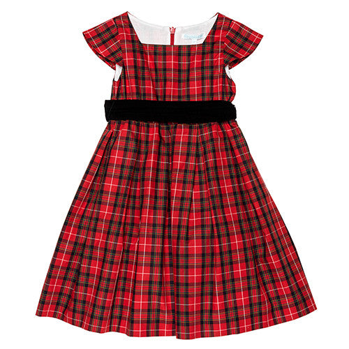 Red Plaid Party Dress w/Sash