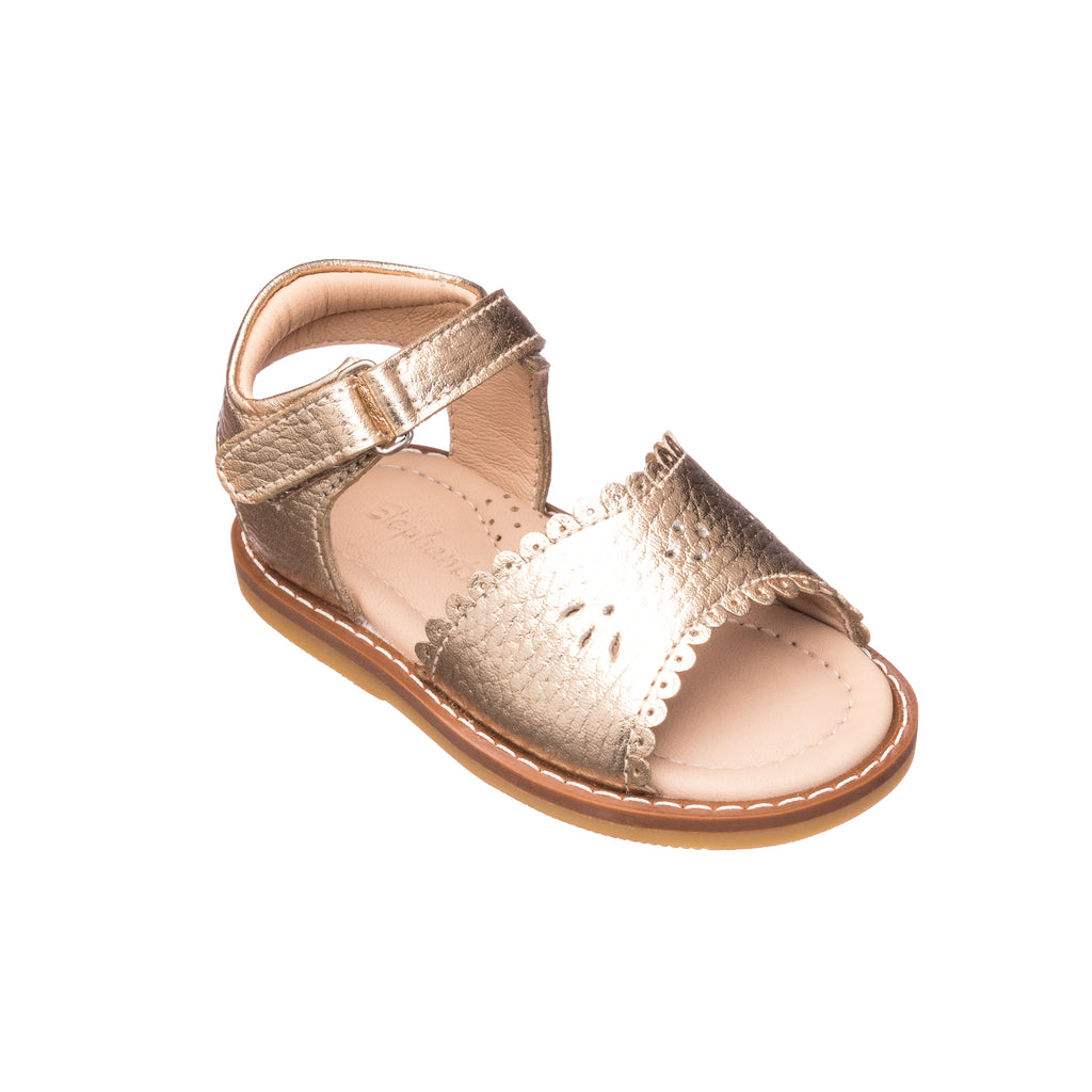 Classic Sandal with Scallop Toddler Gold
