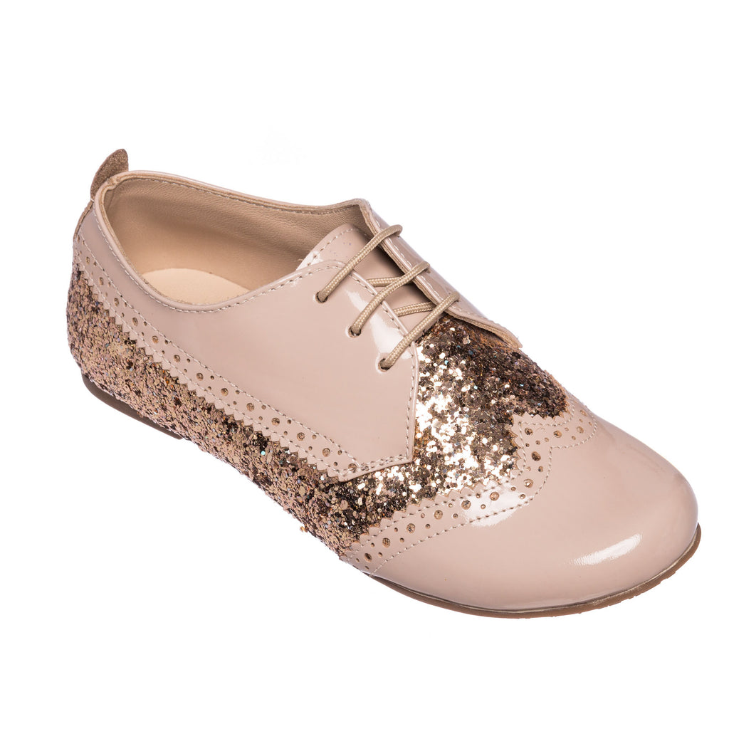 Girl's Wingtip Oxford Glitter Rose
