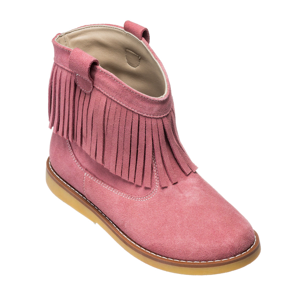 Bootie w/Fringes Suede Pink