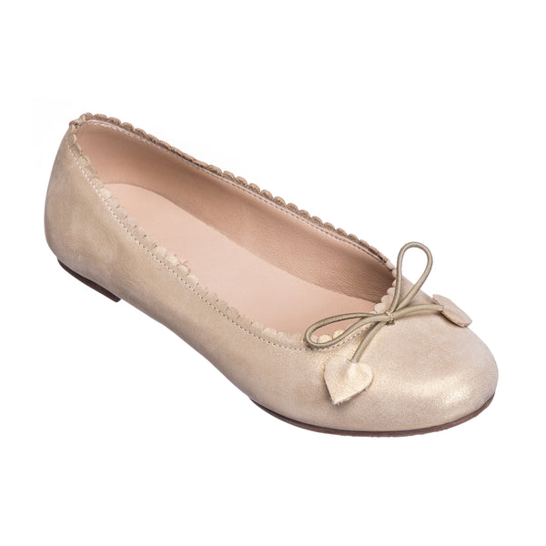 Scalloped Ballerina Suede Gold