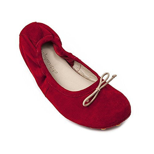 Alessia Flat Suede Poppy Red