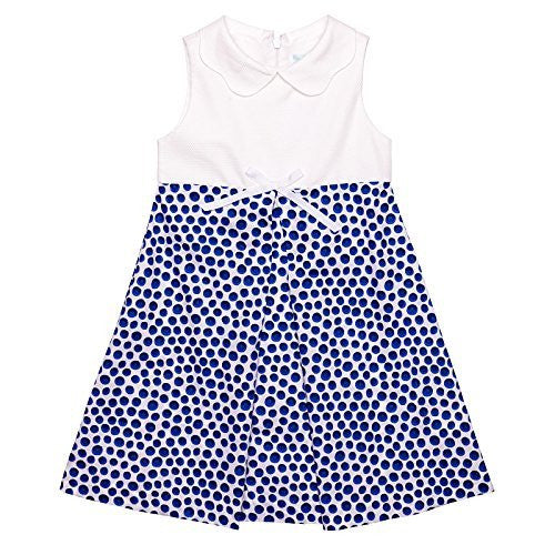 Blue Dots A Line Dress w/Pique