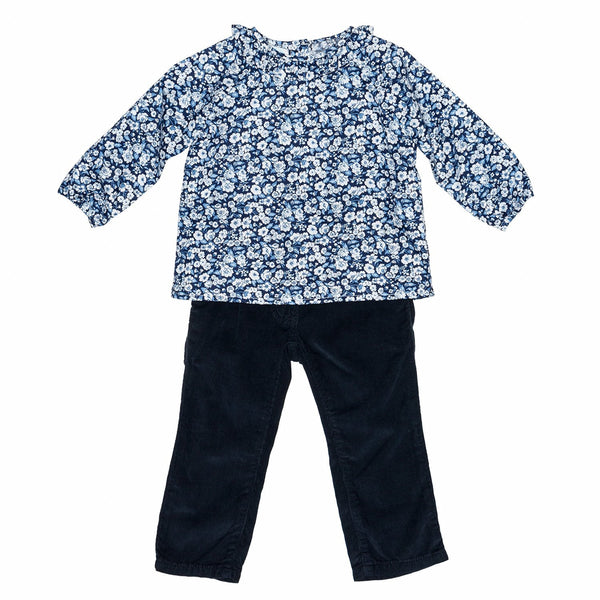 Blue Floral Baby Blouse+Cord. Pants Set