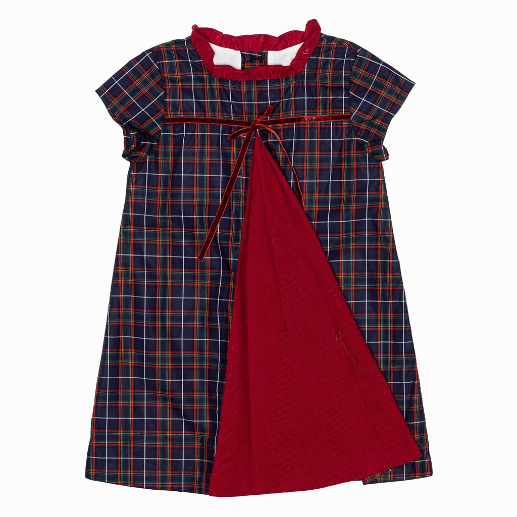 Blue Plaid A Line Dress w/Front Pleat