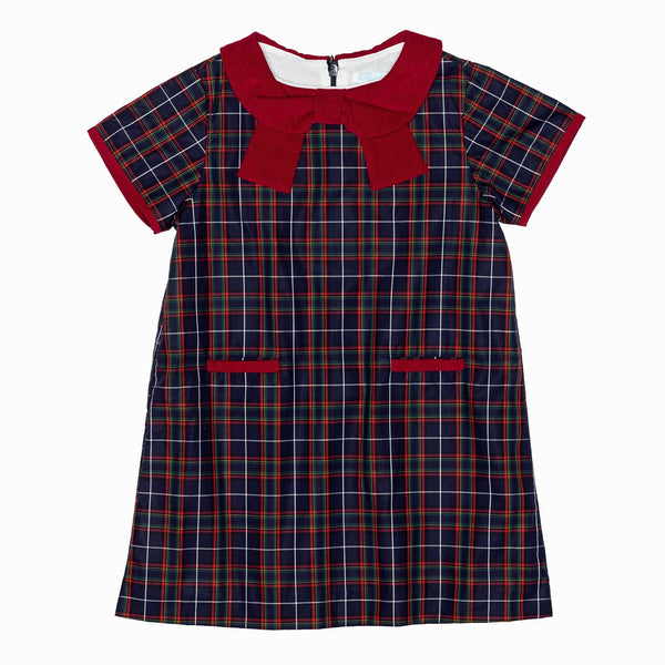 Blue Plaid Collar-Bow A Line Dress