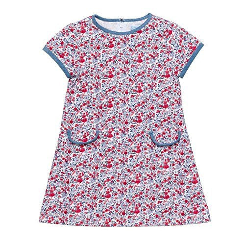 Blue and Red Printed Corduroy Fitted dress