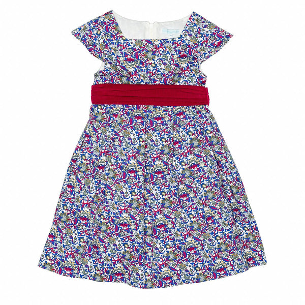 Blue/Red Floral Party Dress w/Sash