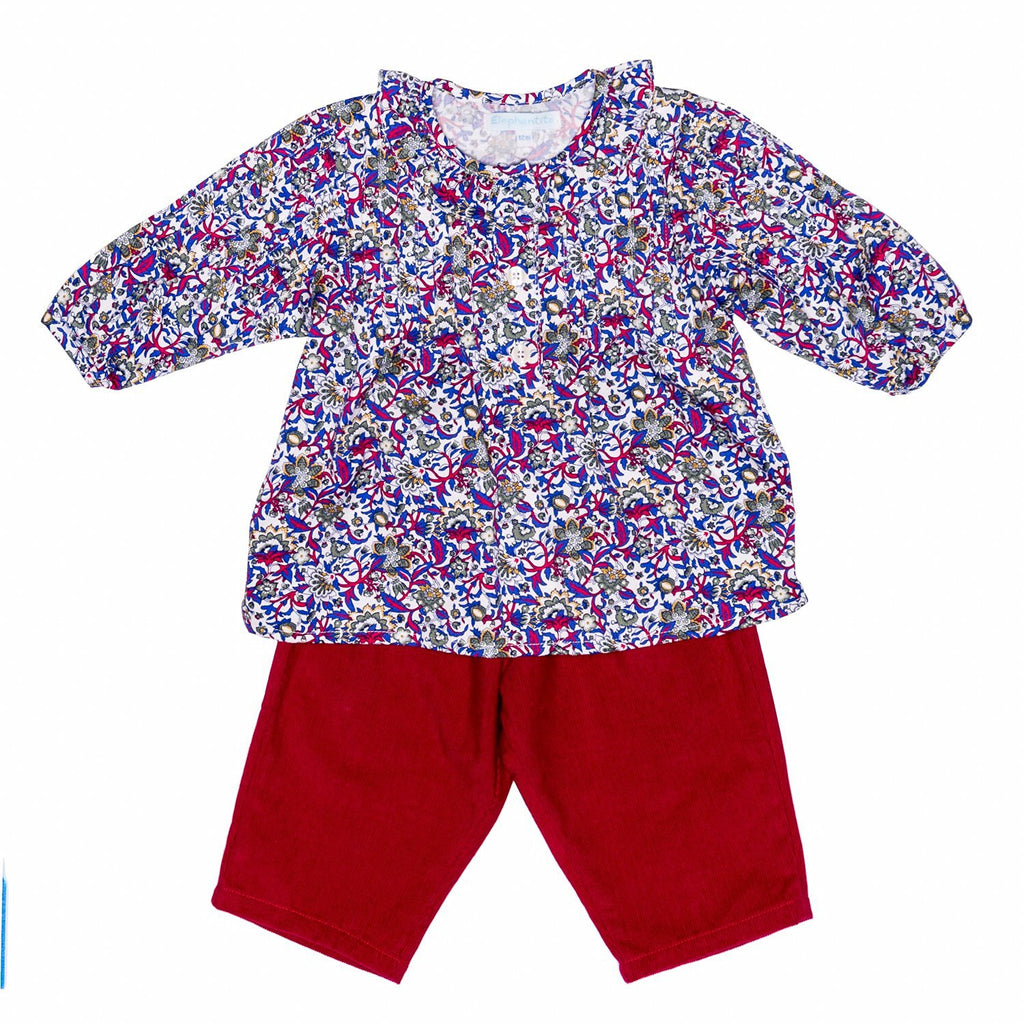 Blue/Red Floral Tunic Baby Set