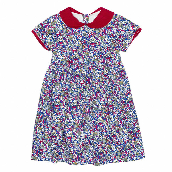 Blue/Red floral Classic Dress w/Collar