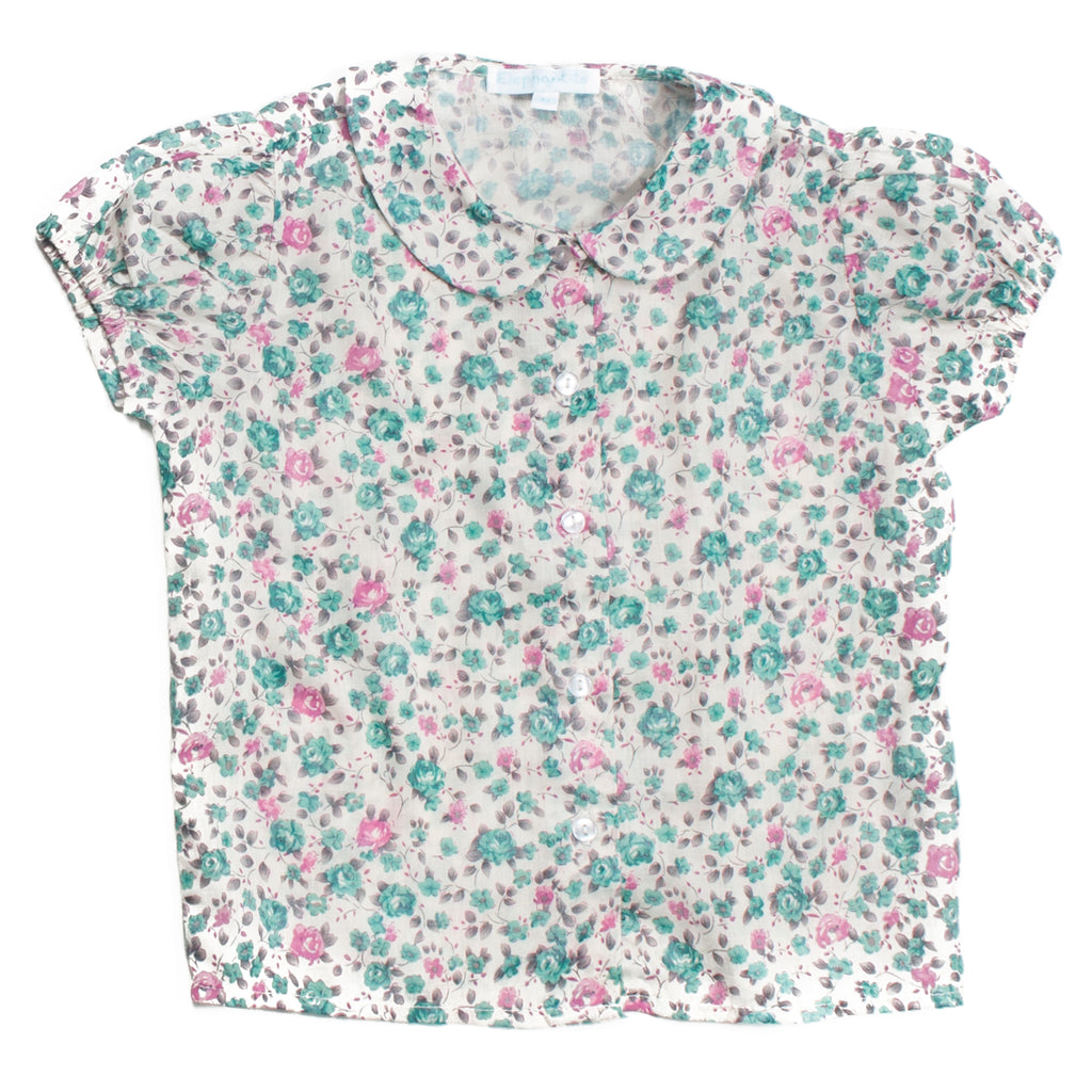 Classic Short Sleeves Floral Blouse